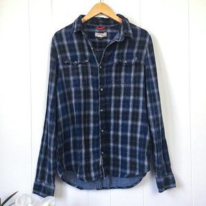 Triple Five Soul Blue Plaid Shirt Medium